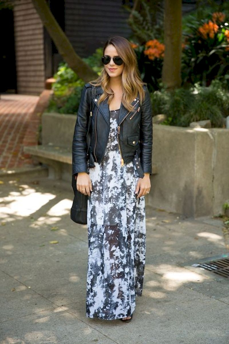 Spring outfit inspiration with floral dress and leather jacket