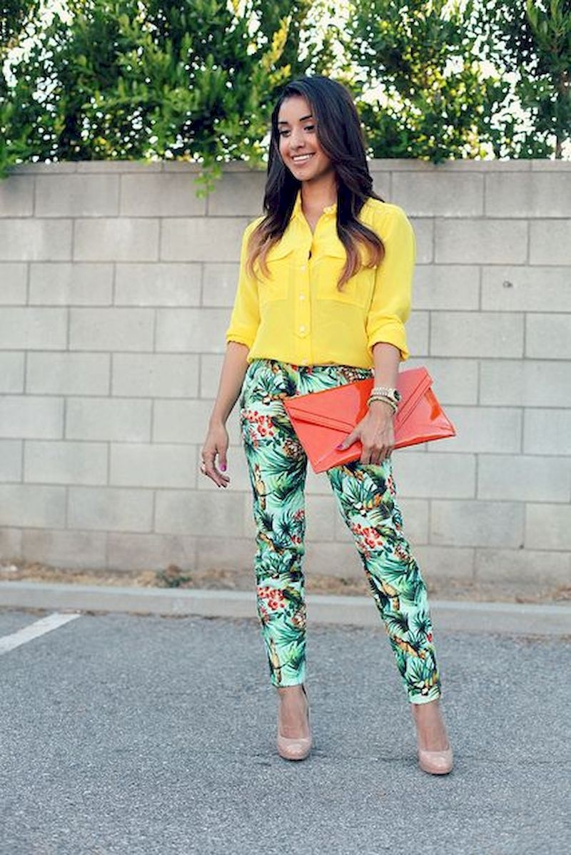 Spring outfit inspiration with floral pant and yellow shirt