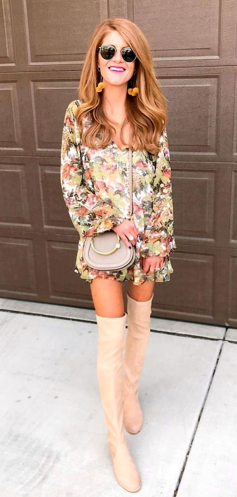 Spring outfit inspiration with floral long-sleeve dress