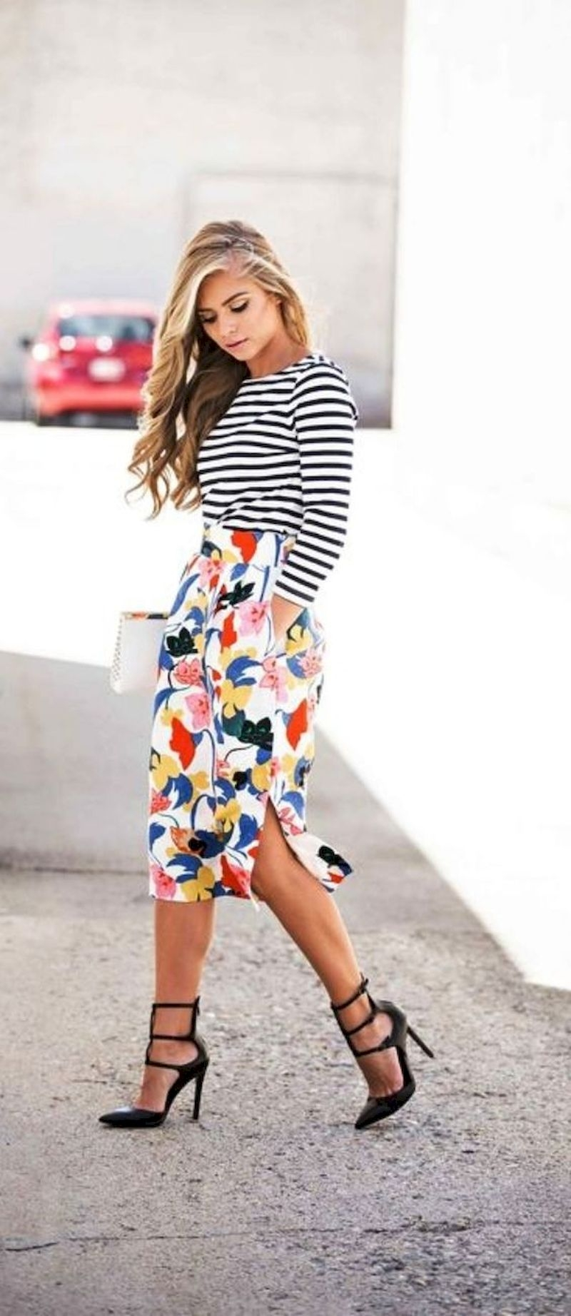 Spring outfit inspiration with floral skirt and striped t-shirt