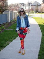 Spring outfit inspiration with red floral pant and denim jacket