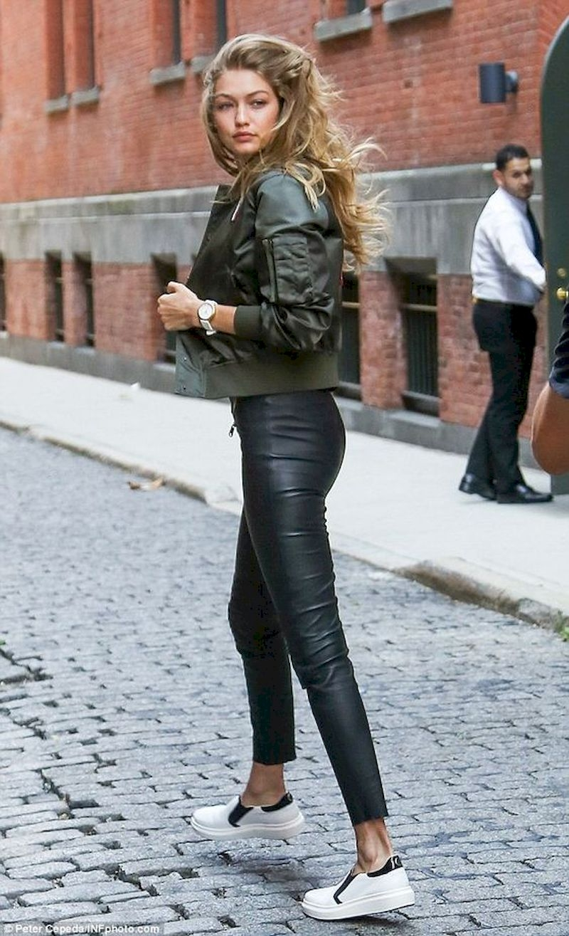 Sporty outfits for school with leather pant