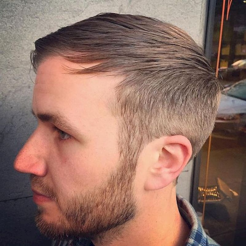 Hairstyles for bald men with thin side sides and a comb on the front