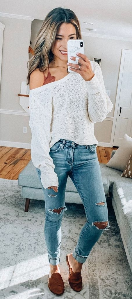 Spring outfit ideas with white knit sweater