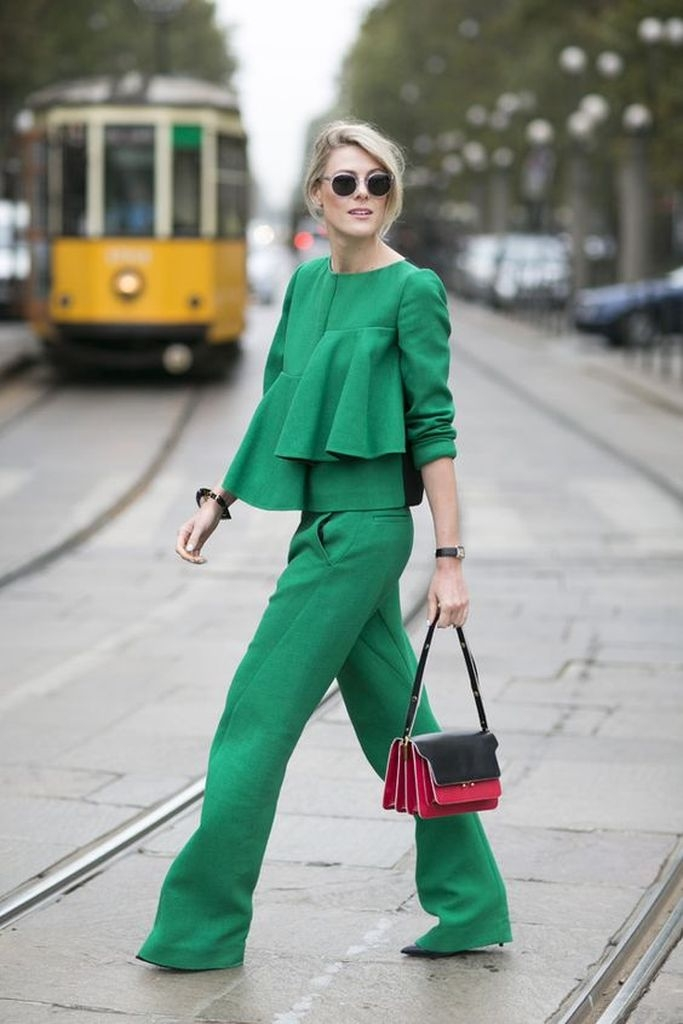 Spring outfit with bags and all green clothes