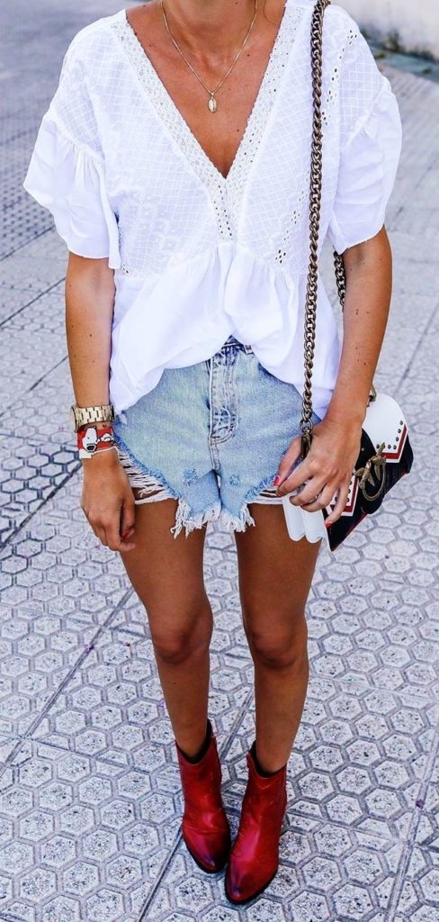 25+ Brilliant Summer Outfits To Copy ASAP - white V-neck blouse #summer #outfits #summeroutfits #summerfashion #summerstyle