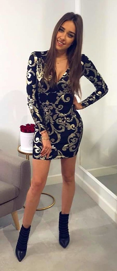 Black and Gray Paisley Midi Dress + Ankle Boots.
