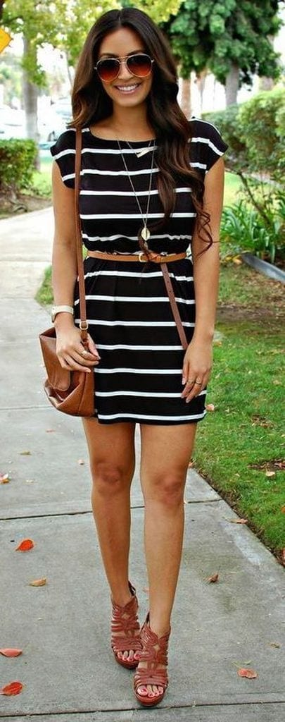 Summer outfit with white striped black dress