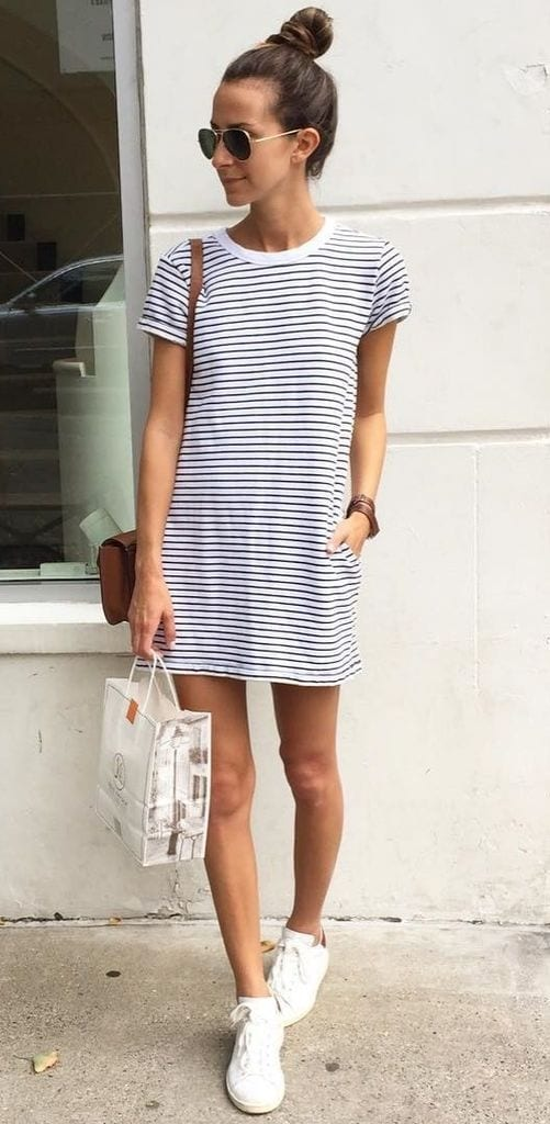 Summer outfit with striped dress