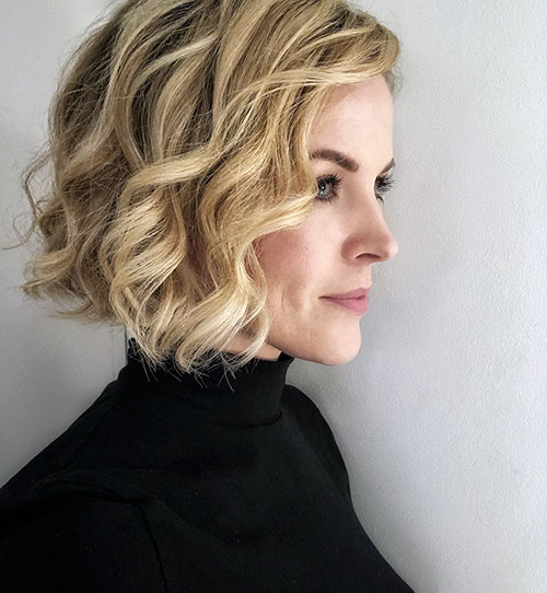 Short Curly Blonde Bob