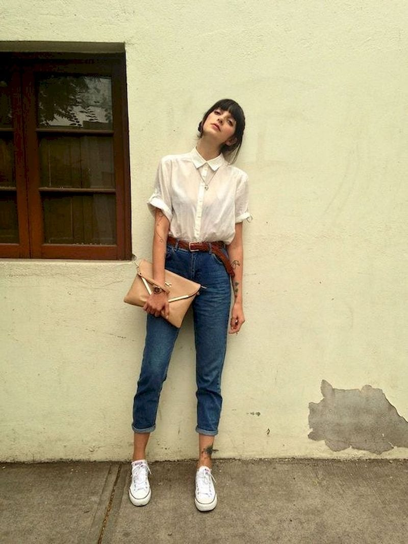 Spring outfit style with white shirt