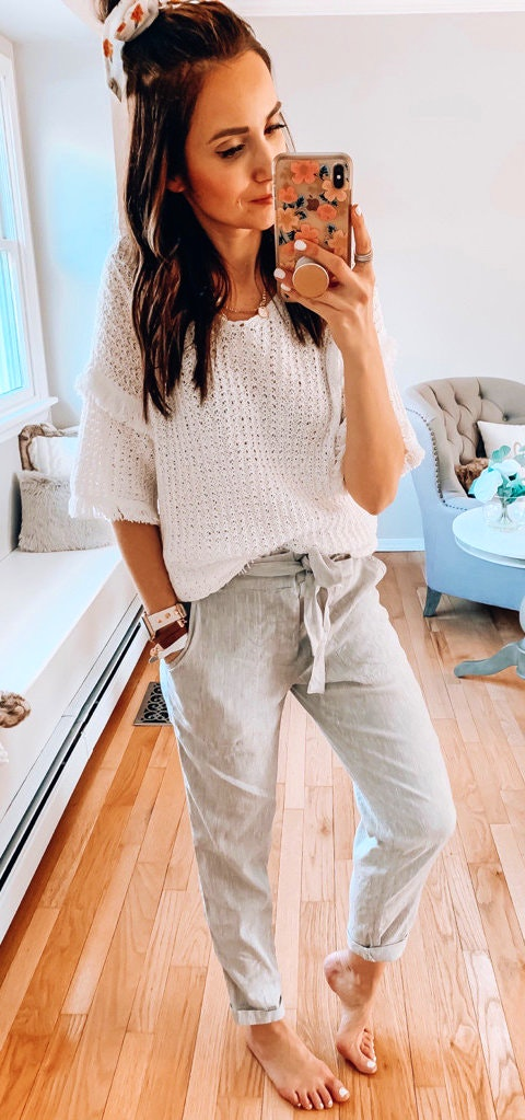 25+ Brilliant Summer Outfits To Copy ASAP - white knit blouse #summer #outfits #summeroutfits #summerfashion #summerstyle