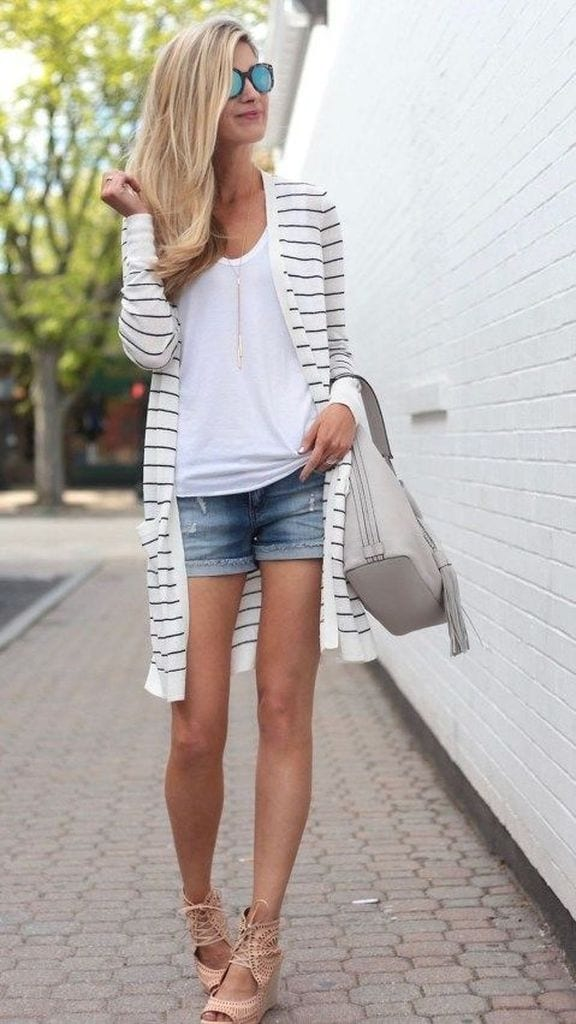 Summer outfit with striped cardigan