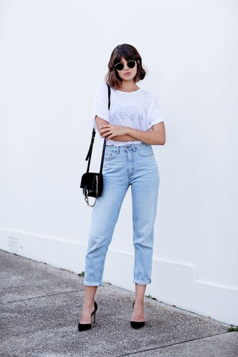 Spring outfit style with white t-shirt and black high heels