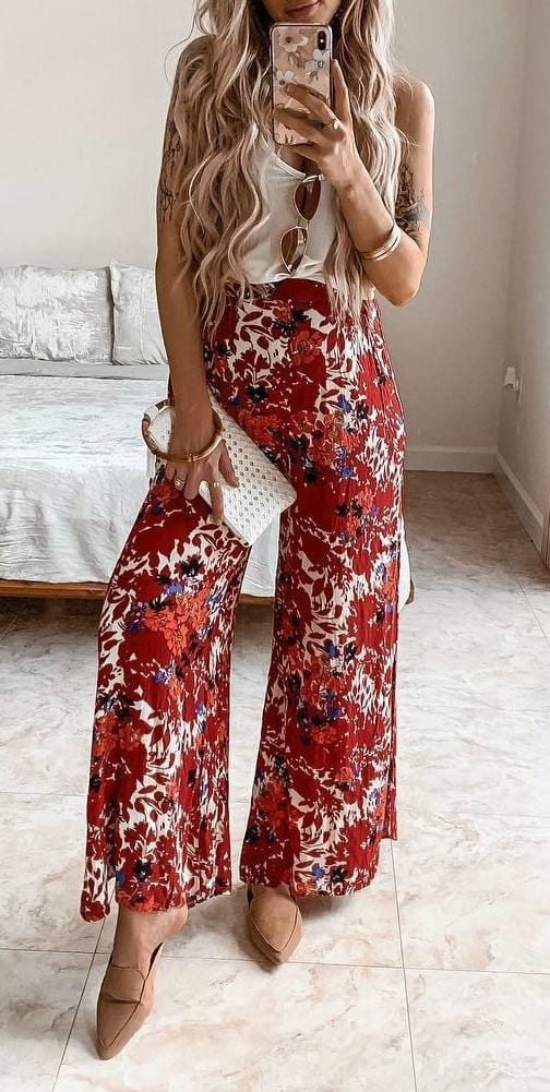 Spring outfit with wide-leg pants