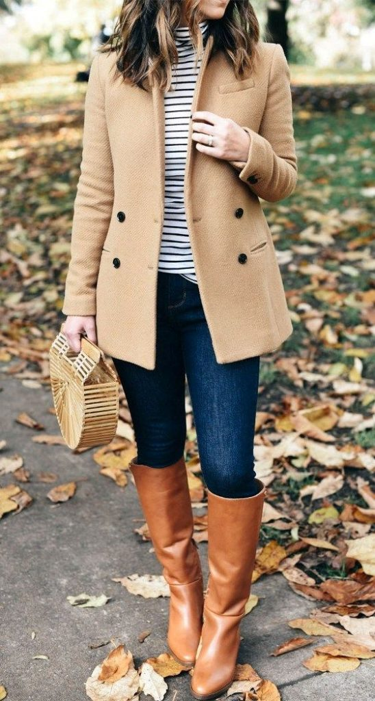 #fall #outfits / Beige Coat - Stripes