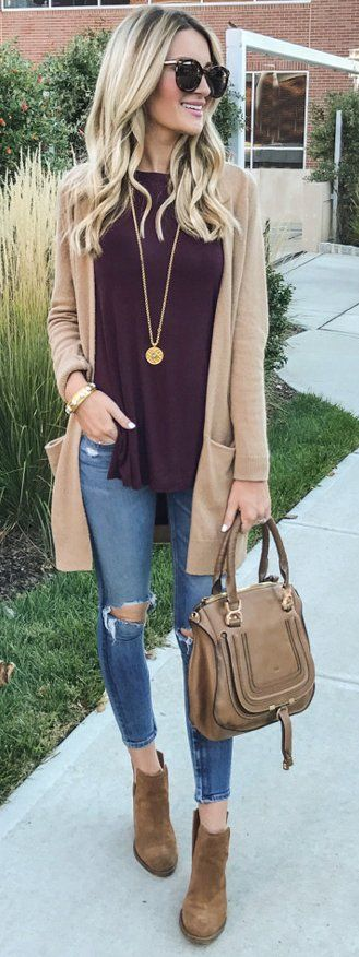 #fall #outfits / Beige Cardigan - Burgundy Top