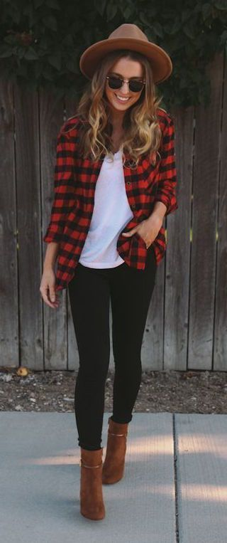 #fall #outfits / Red Plaid Shirt - Hat