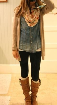 #fall #outfits / Denim Shirt - Flower Scarf
