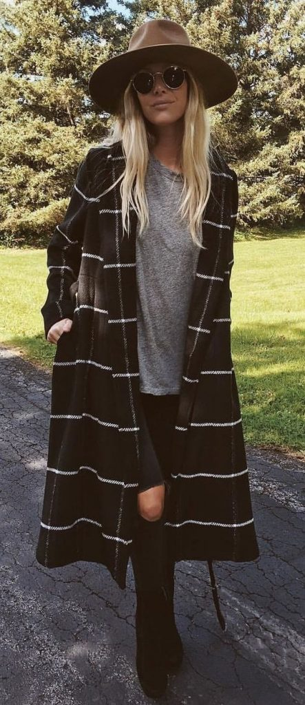 #fall #outfits / Over Size Stripes Cardigan - Brown Hat