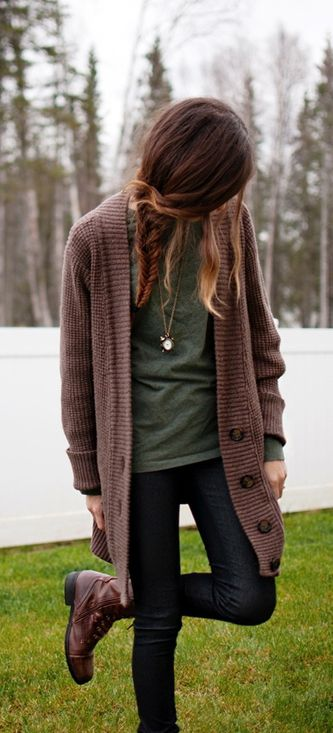 #fall #outfits / Green Long Sleeve - Leather Combat Boots