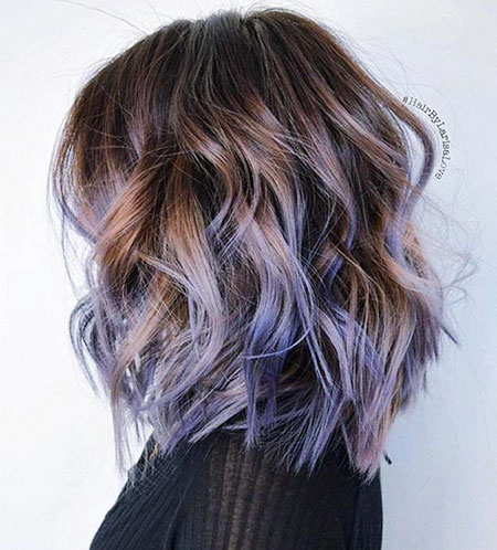 Blue Highlights in Brown Hair, Highlights Brown Balayage Undercut