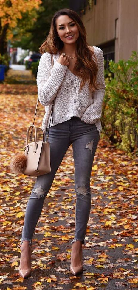 #fall #outfits / White V-Neck Long Sleeve - Grey Jeans