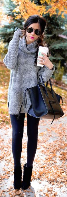 #fall #outfits / Grey Long Sleeve - Black Purse