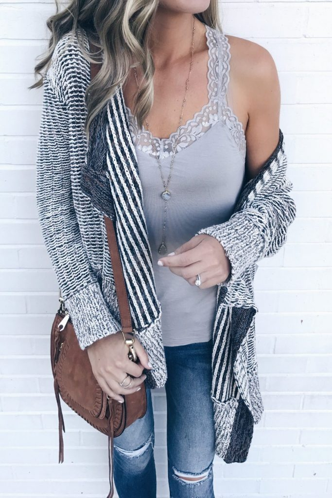 #fall #outfits / Grey Cardigan - Grey Camisole