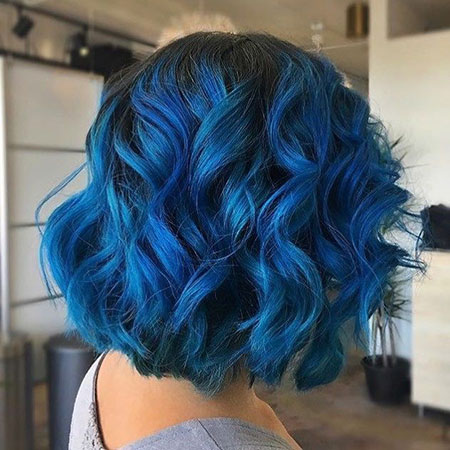 Curly Hair, Hair Color Ombre Blue