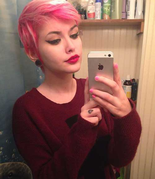 Pink Colored Pixie Hairstyle