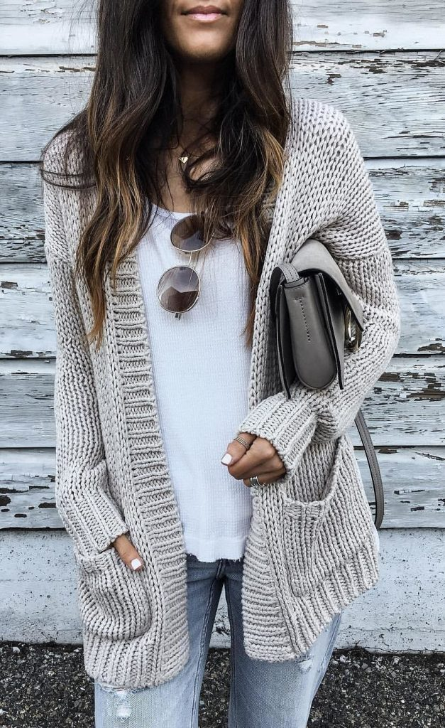 #fall #outfits / Knitted Cardigan - White Tee
