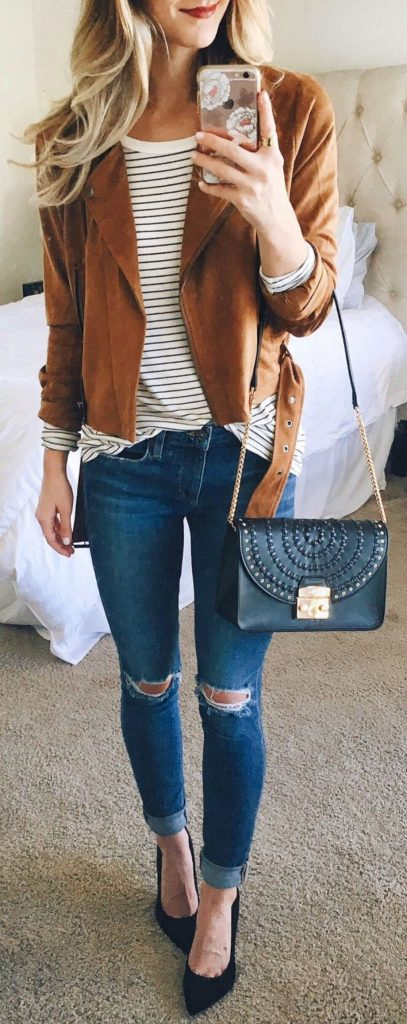 #fall #outfits / Brown Jacket - Stripes
