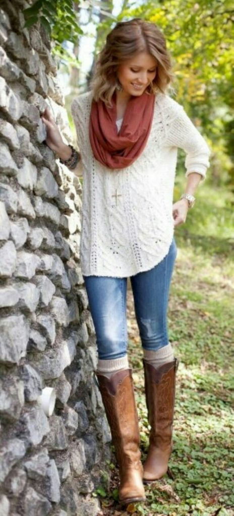 #fall #outfits / Red Scarf - White Knitted Long Sleeve
