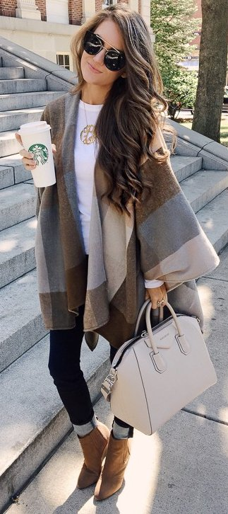 #fall #outfits / Stripes Cardigan - Ankle Booties