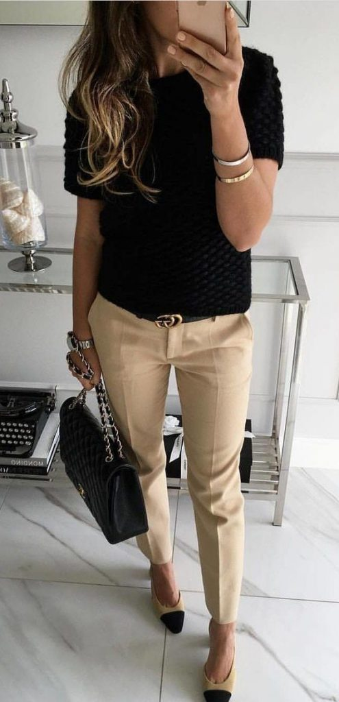 #fall #outfits / Black Blouse - Khaki Casual Pants