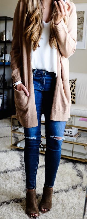 #fall #outfits / Beige Cargidan - Brown Heel Booties