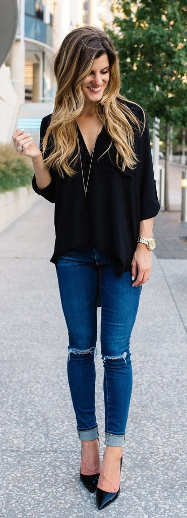 #fall #outfits / Black Blouse - Black High Heels