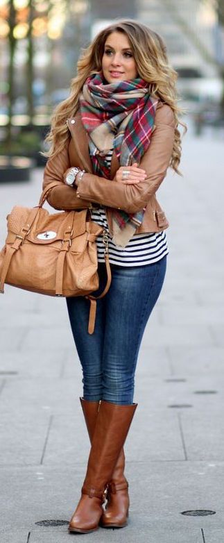 #fall #outfits / Plaid Scarf - Brown Leather Jacket
