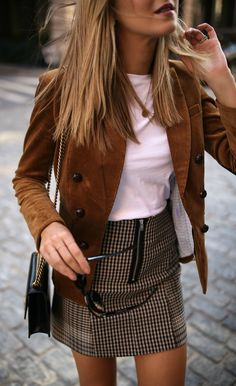 #fall #outfits / Sandy Brown Jacket - Plaid Skirt