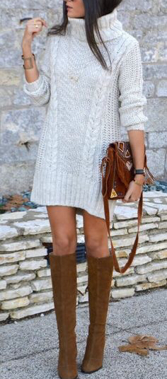 #fall #outfits / White Knitted Long Sleeve Dress