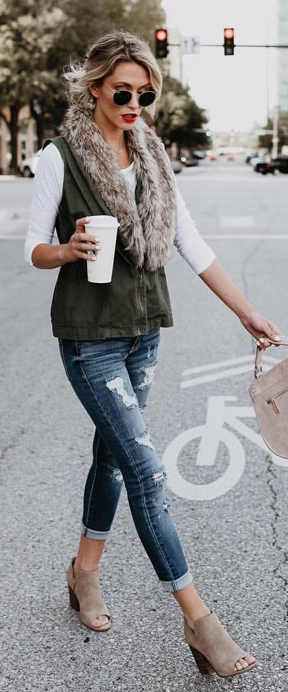 #fall #outfits / Faux Fur Vest - Ankle Booties