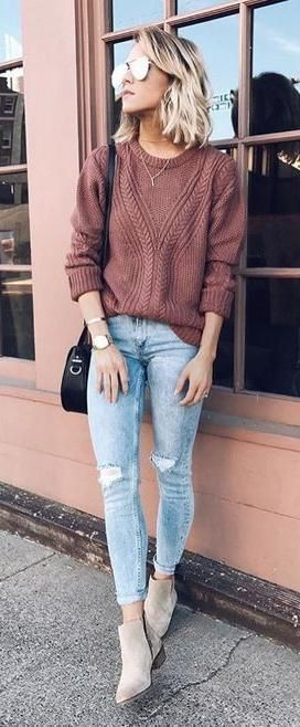 #fall #outfits / Indian Red Knitted Long Sleeve - Ankle Booties