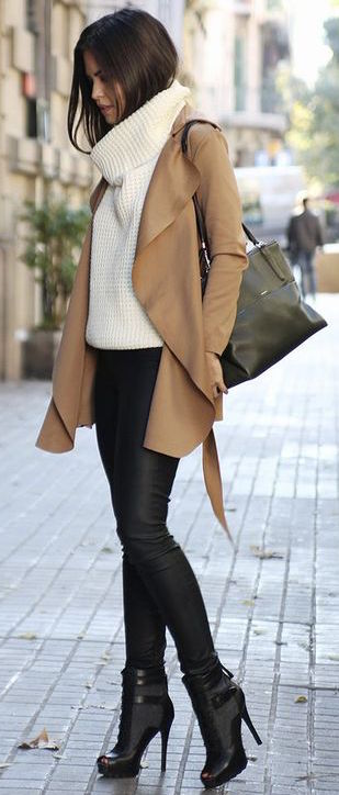 #fall #outfits / Beige Cardigan - Black High Heels