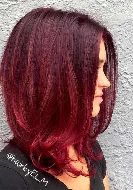 Balayage Red Color Burgundy