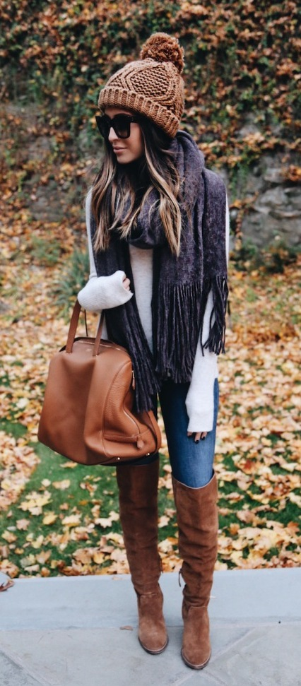 #fall #outfits / Brown Knitted Beanie - Over Size Scarf