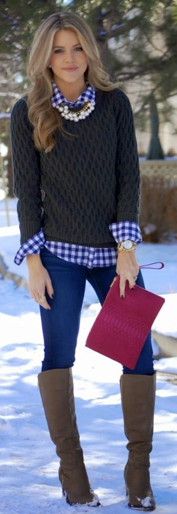 #fall #outfits / Dark Green Knitted Long Sleeve - Plaid Shirt