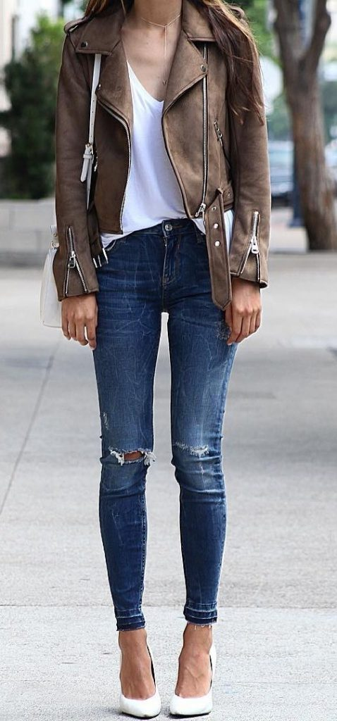 #fall #outfits / Leather Jacket - White High Heels