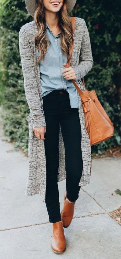#fall #outfits / Grey Cardigan - Light Blue Shirt