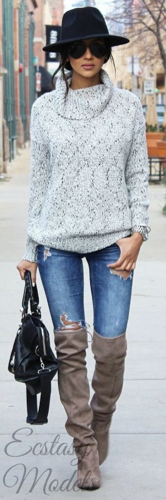 #fall #outfits / Black Hat - Tall Boots